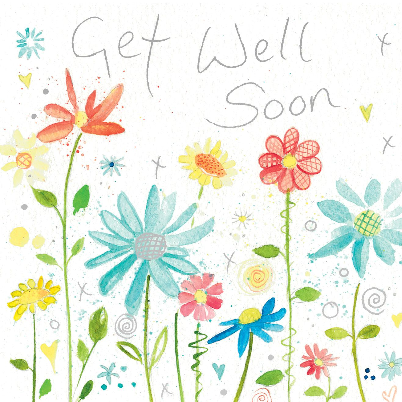 Get Well Soon W121 Floral Greetings Card By Lyn Thompson Features
