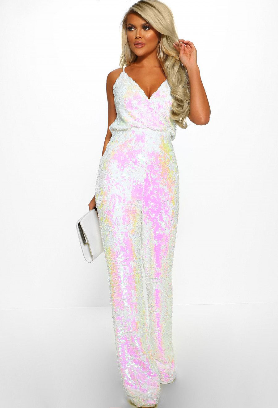 to buy buy real enjoy bottom price Slay Queen White Sequin Wrap Front Wide Leg Jumpsuit - 8 ...