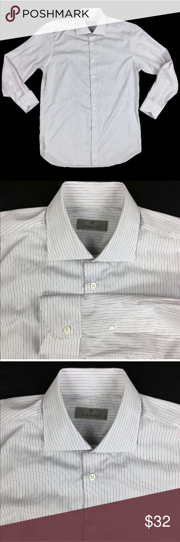 Canali Striped Dress Shirt In Size 16 41 An Excellent Used Condition Canali Striped Black Pink And White Striped Striped Dress Shirt Dress White Striped Dress [ 1740 x 580 Pixel ]