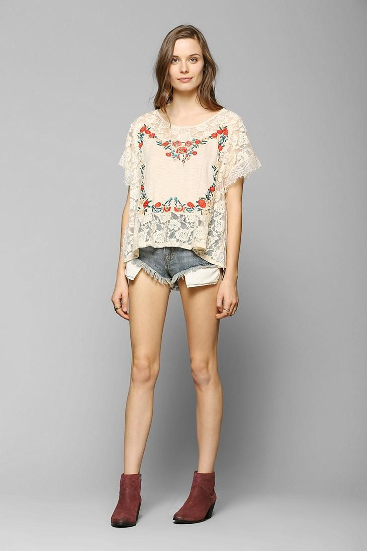 Kimchi Blue Embroidered Poncho Tee #urbanoutfitters