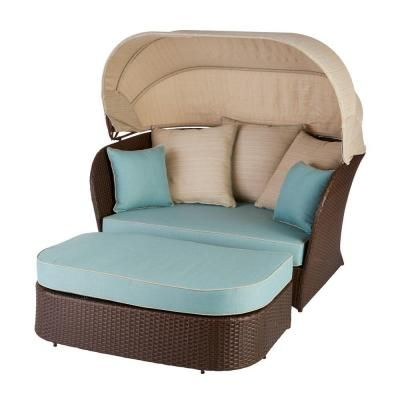 Hampton Bay Deerfield All Weather Wicker Patio Day Bed With Blue Cushions 750 025 000 The Home Depot Blue Cushions Hampton Bay Daybed