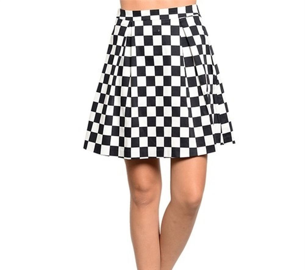 Black and White Checkered Mini Skirt Retro Mod Two Tone Ska Beat ...
