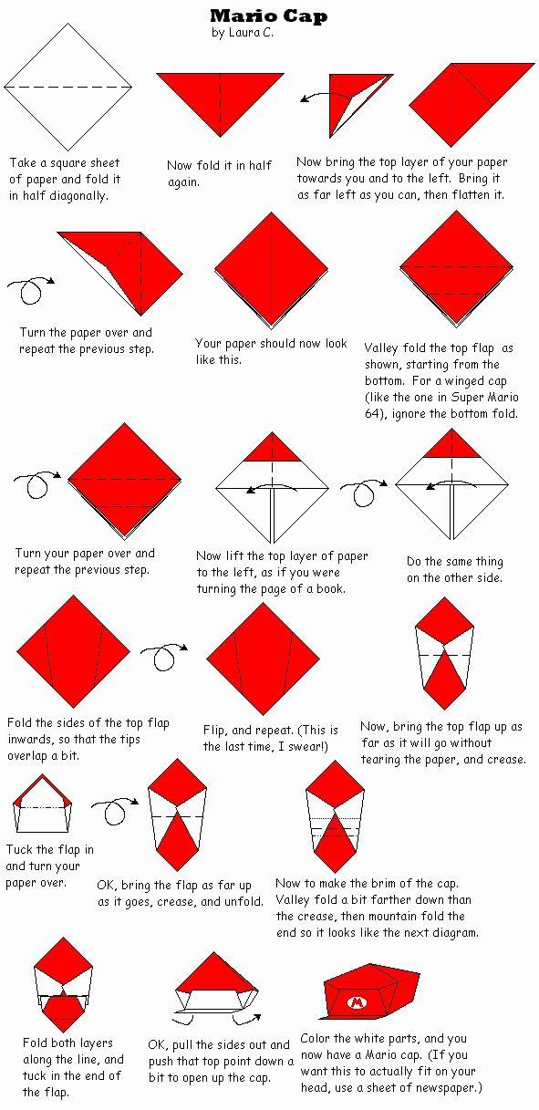 Origami Mario Cap Origami Pinterest Origami Paper Paper And