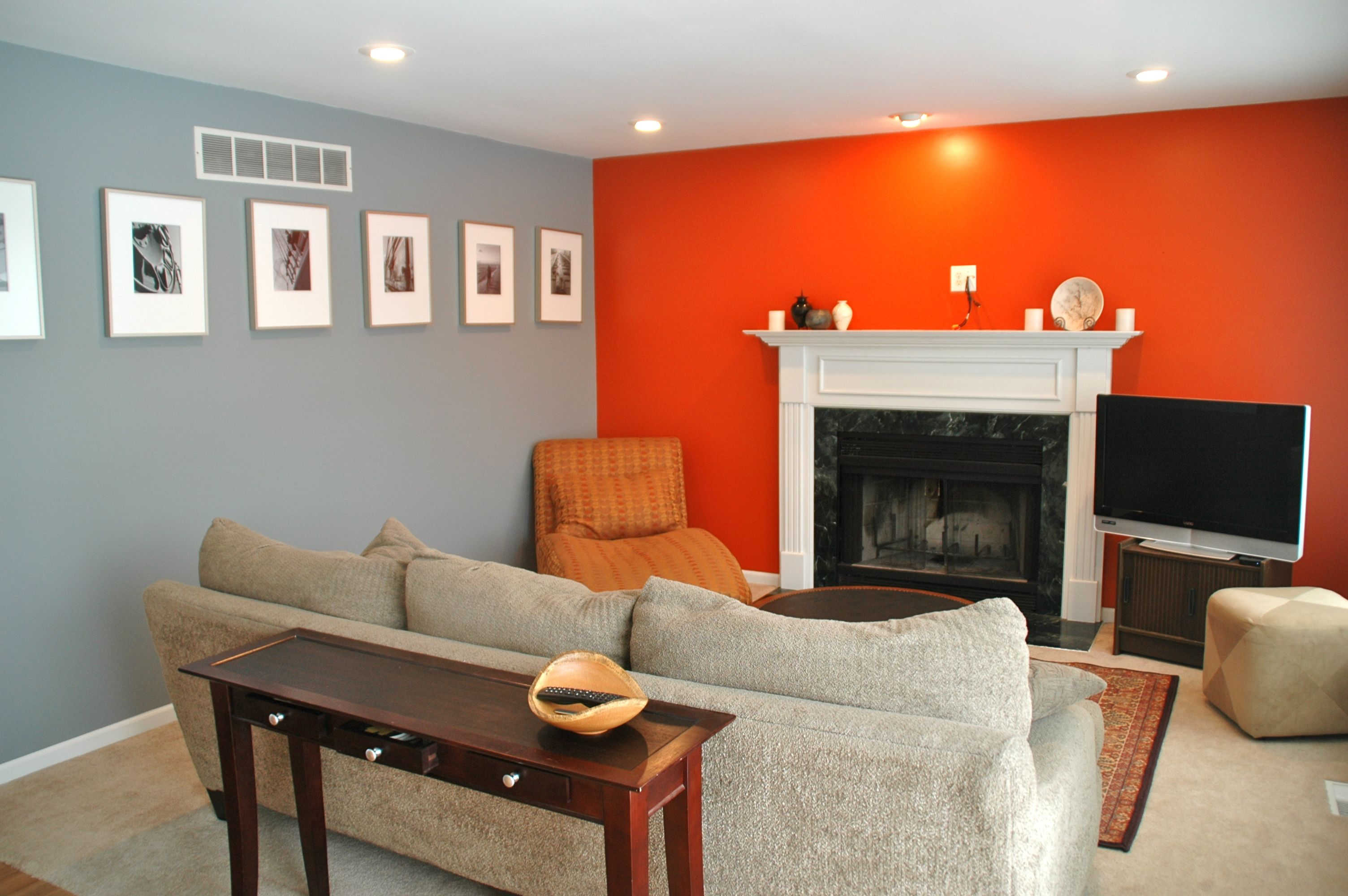 Grey orange living room mine pinterest orange - Gray living room walls ...