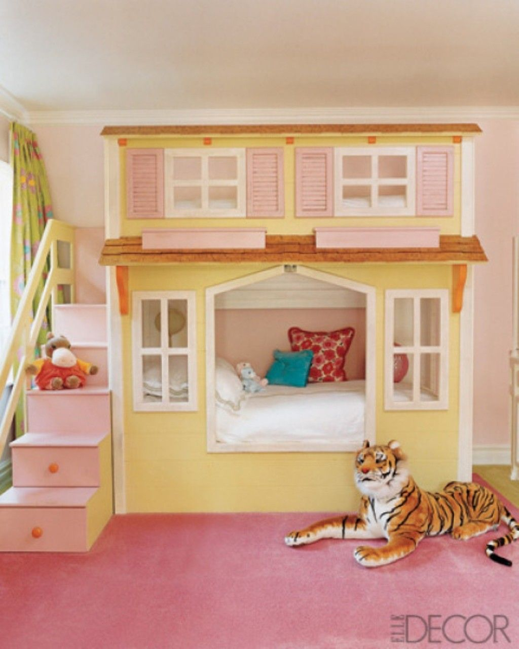 Kids Room Cute Girl Bedroom With A Cottage Style Bunk Bed Also