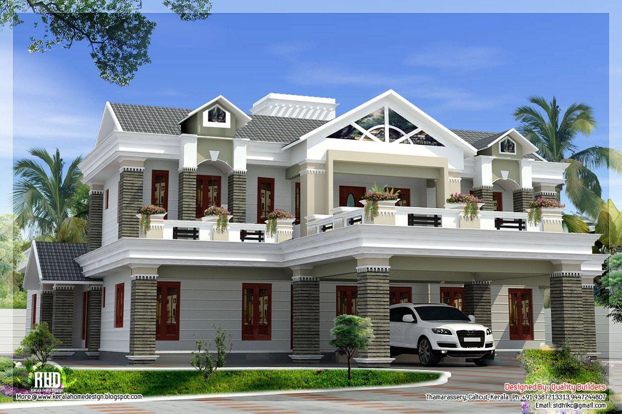 Sloping Roof Mix Luxury Home Design Kerala House Design Kerala