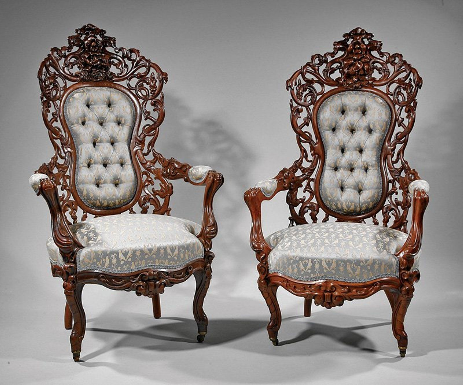 Carved and Laminated Rosewood Parlor Suite liveauctioneers