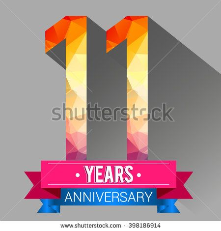 11 Years Anniversary Logo With Colorful Polygonal Stock Vector
