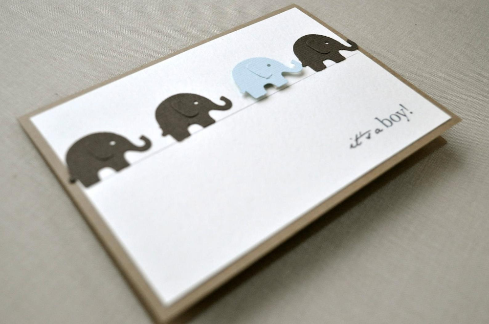 Welcome baby boy card – blue and grey elephant design. Blue and grey