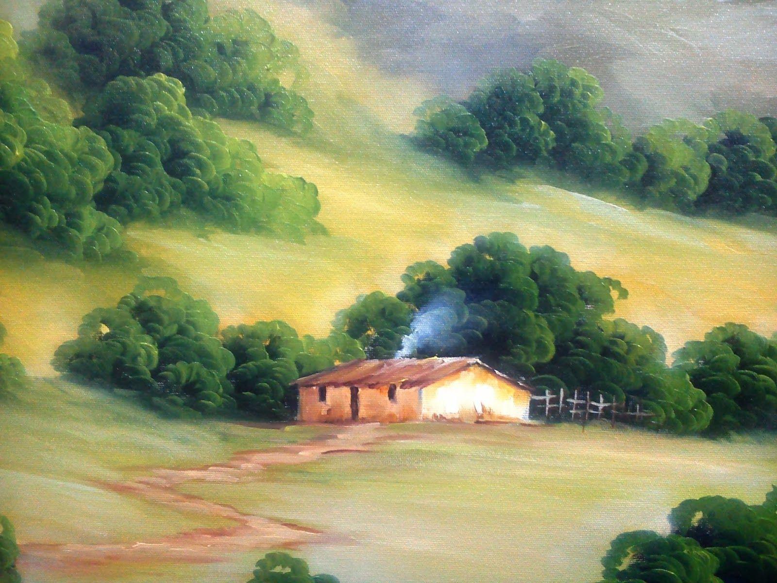 Campo aberto, montanhas e uma casinha bem simples. . . . amo muito esse tipo de trabalho!      Óleo Sobre Tela - 60cm x 90cm             De...