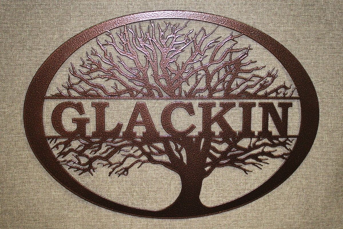 Family Tree Metal Wall Art With Copper Vein Powder Coat Board
