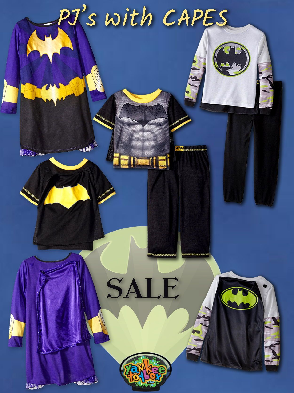 c8feadfeaf87 Super-cool detachable capes make these officially licensed DC Comics pajama  sets BAT-TASTIC