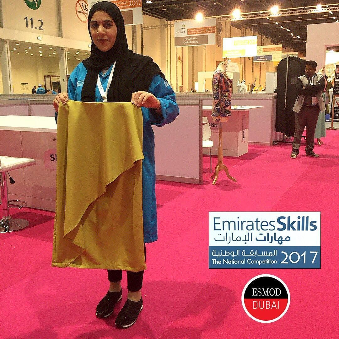 5hrs Done Hessaalshawab Esmod Dubai Student Worldskills Uae National Competitor Completed Her Personal Skirt Well Don Fashion Competition Dubai National