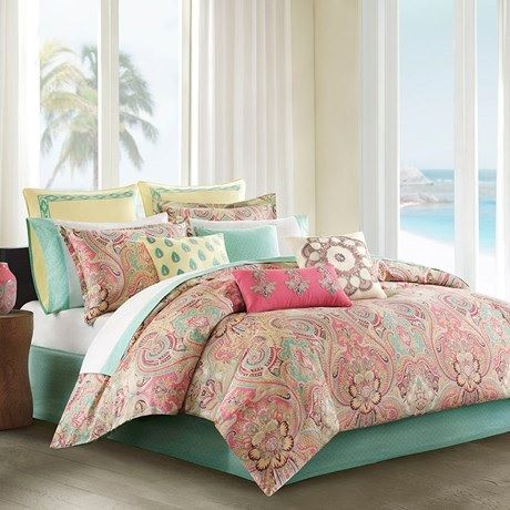 Guinevere In Coral Seafoam Pink Yellow And Mint Comforter Sets By Echo Design Comforter Sets Bedding Sets Tropical Bedding Sets