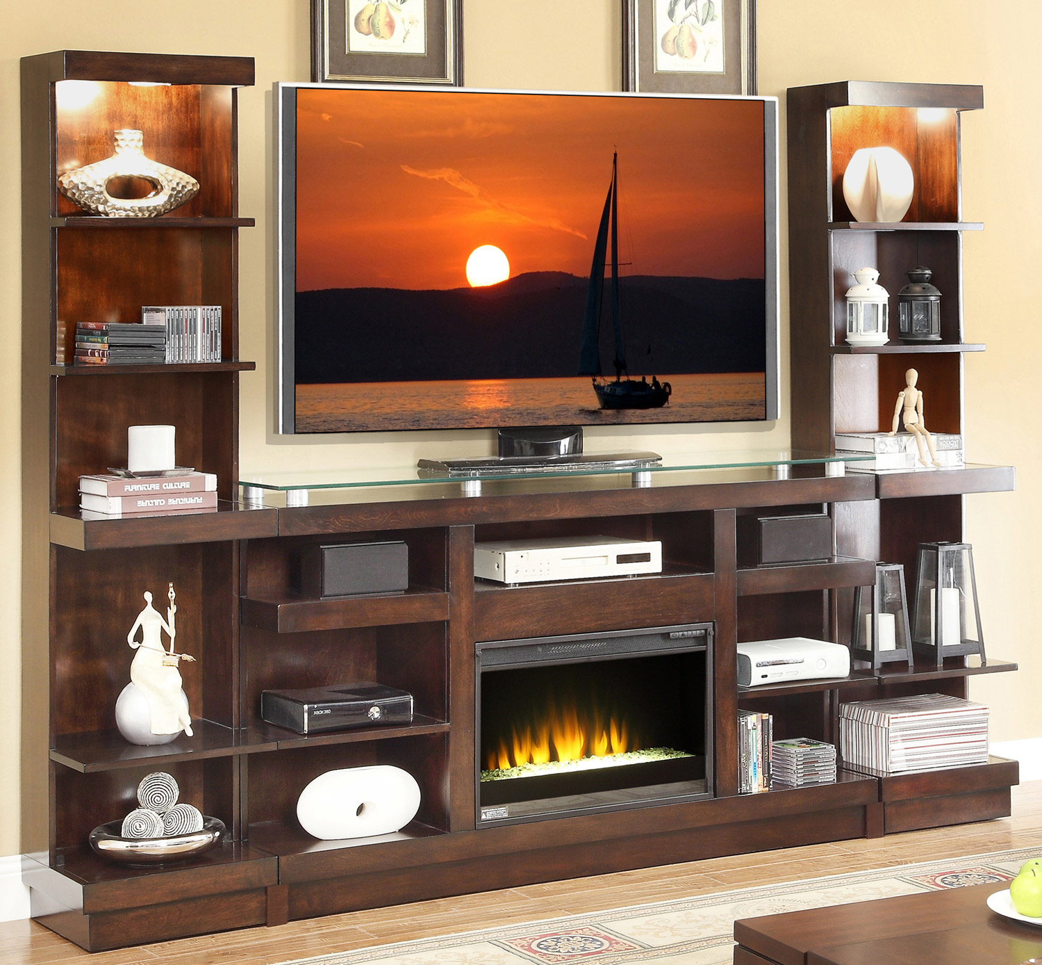 Legends fireplace console and consoles