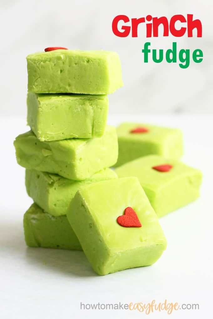 GRINCH FUDGE -- This easy fudge recipe is a fun treat for Christmas. Four ingredients and minutes to make, perfect to watch the Dr. Seuss classic.  thegrinch  grinchfudge  easyfudge  fudgerecipe  christmas  christmasfudge  microwavefudge  condensedmilkfudge  green  DrSeuss