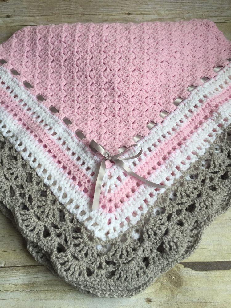 Crochet Baby Toddler Childs Afhgan Blanket Pink White Grey Handmade ...