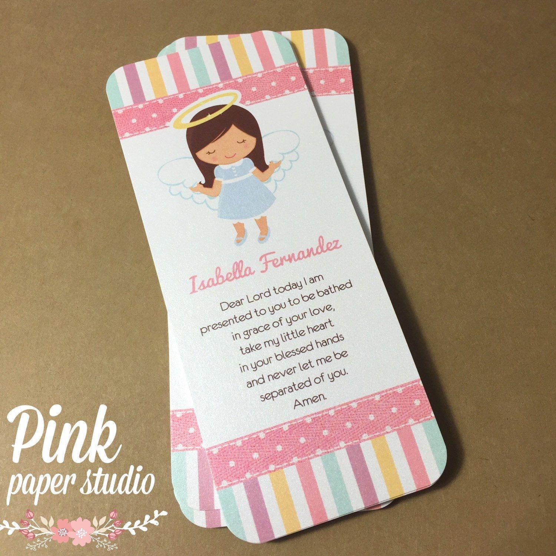 Bautismo tarjetas favor marcador bautismo angel chica for Recuerdos para bautizo nina
