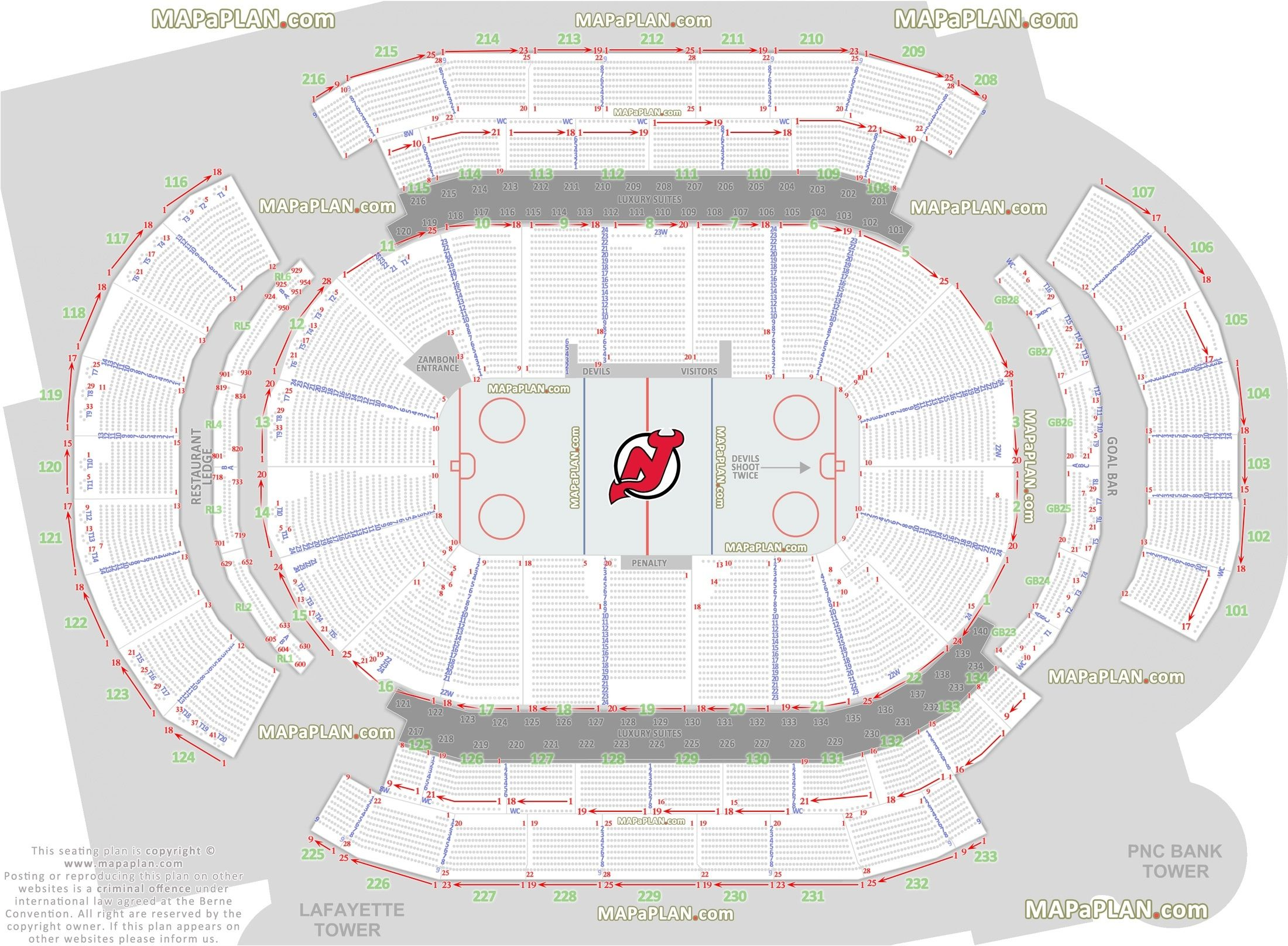 Prudential Center Newark Arena Seat And Row Numbers Detailed Pertaining To Devils Seating Chart24187 Seating Charts Disney On Ice Seating Plan