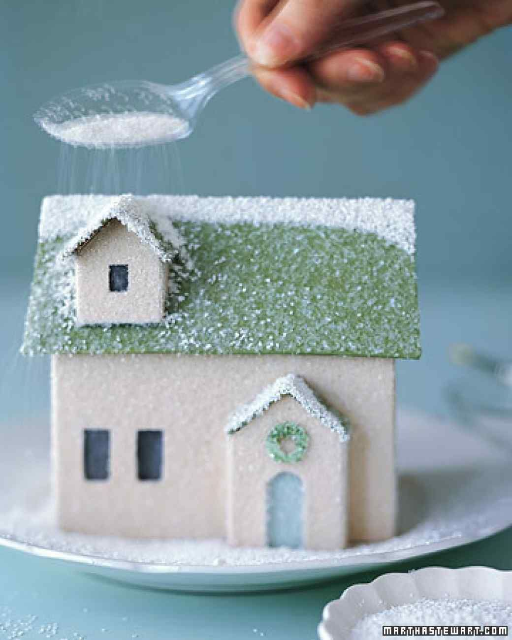 """Winter Village: Homemade House Finished with a sprinkling of glitter """"snow,"""" this little homemade house is ready to join its neighbors in a shimmering holiday village."""