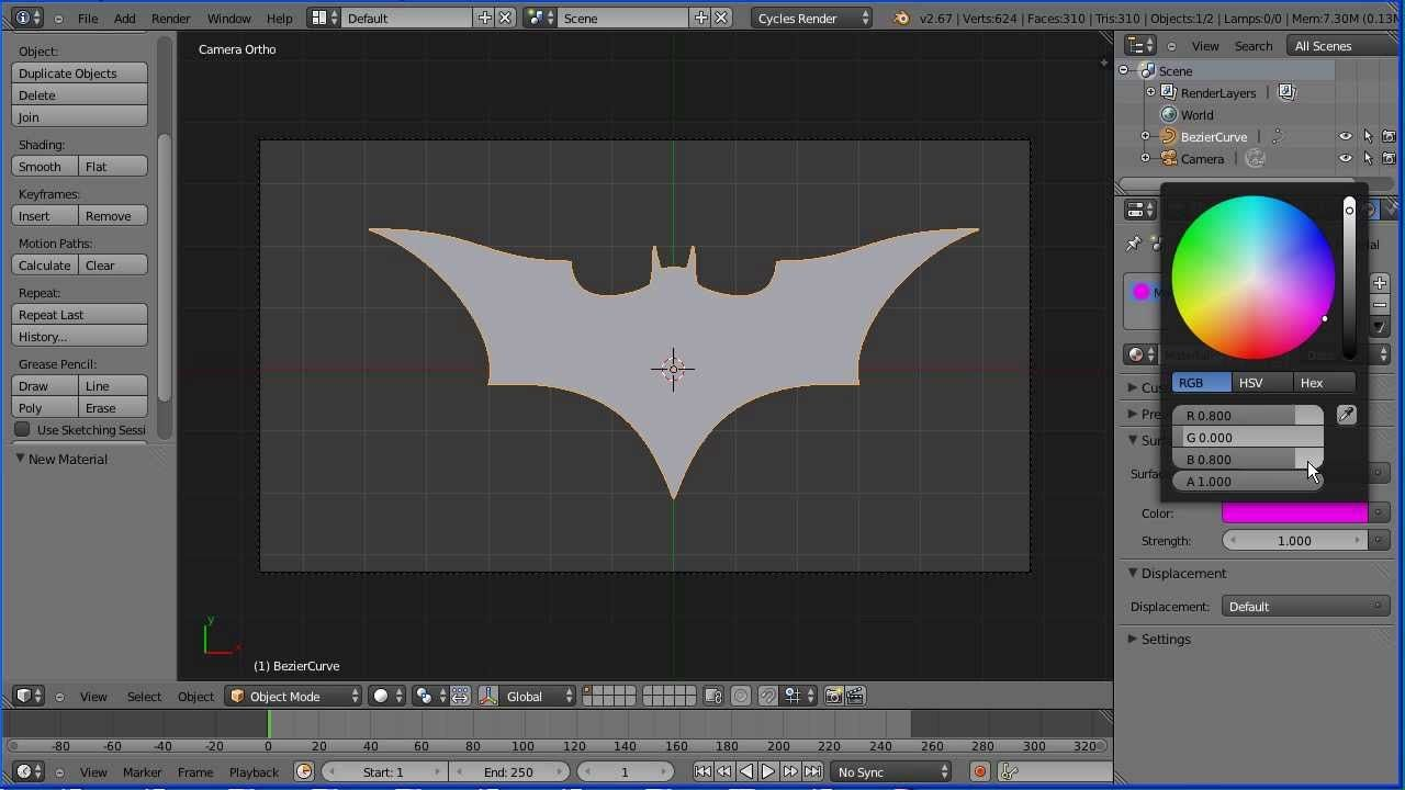 Blender Tutorial Using Curves to Make a Batman Logo (Bezier