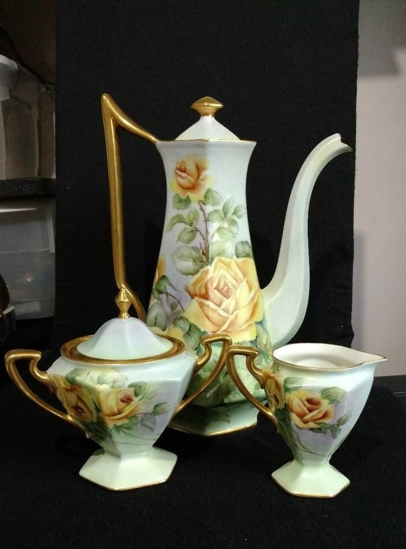 Vintage B & Co. France Limoges Chocolate Tea Set Yellow Roses Signed Schowalter | #1873705920 #teapotset