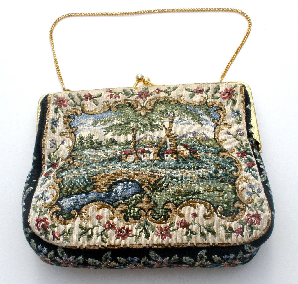Vintage Delill Petit Point Handbag Coin Purse Coke Mirror