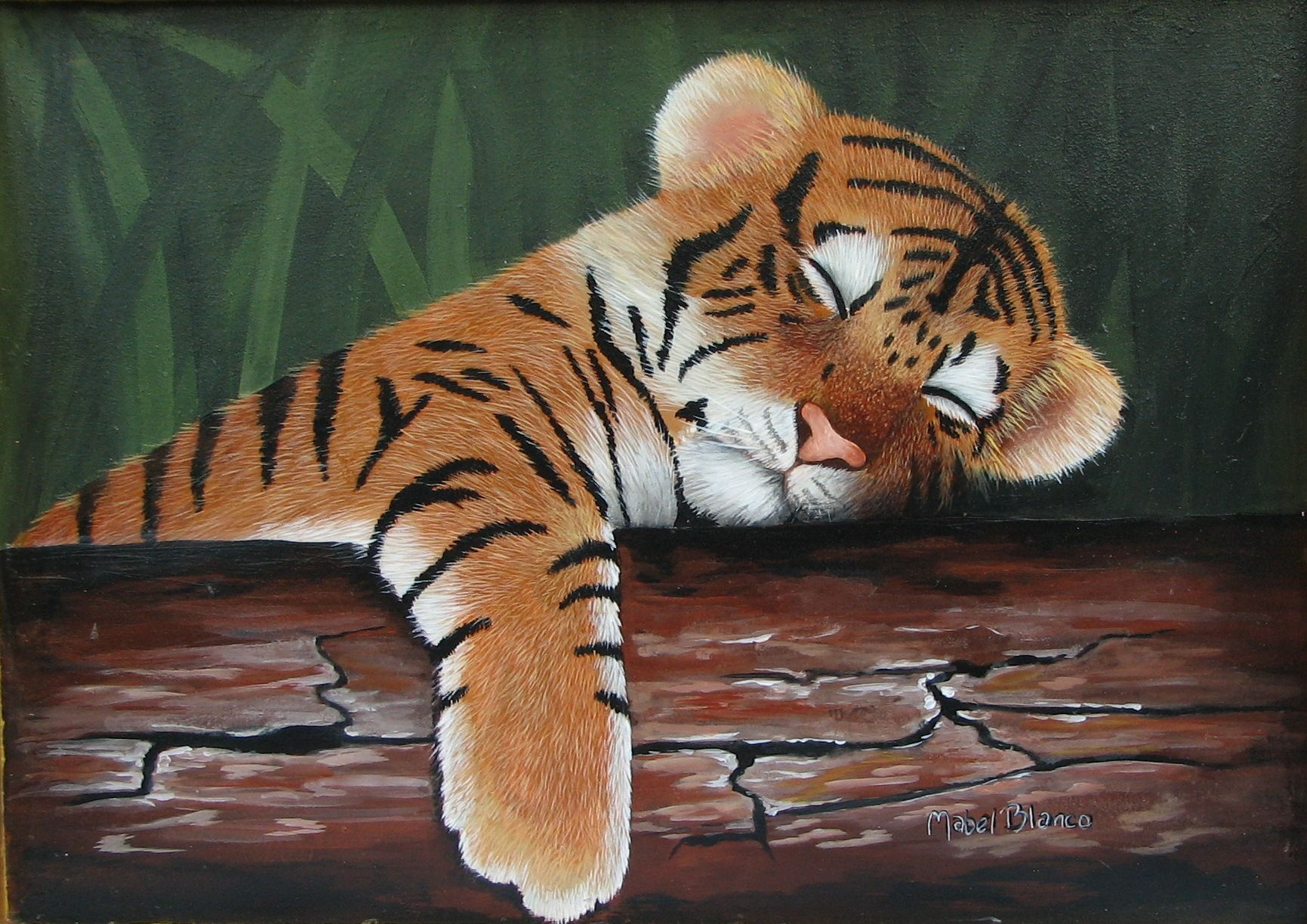 tigre bebe durmiendo | mis pinturas - my paintings ...
