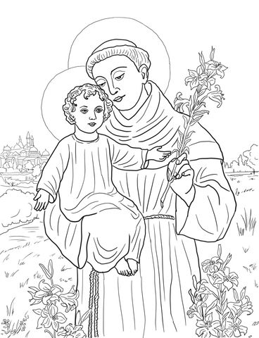 St. Anthony of Padua Coloring page | templets | Pinterest | Coloring ...