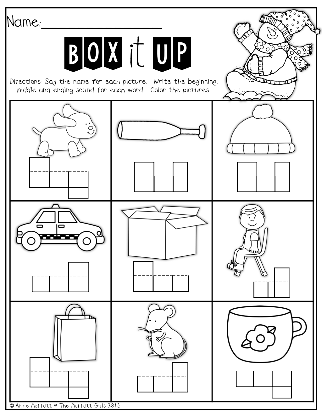worksheet Middle Sounds Worksheets box up the words sound by perfect for kids who are learning how to