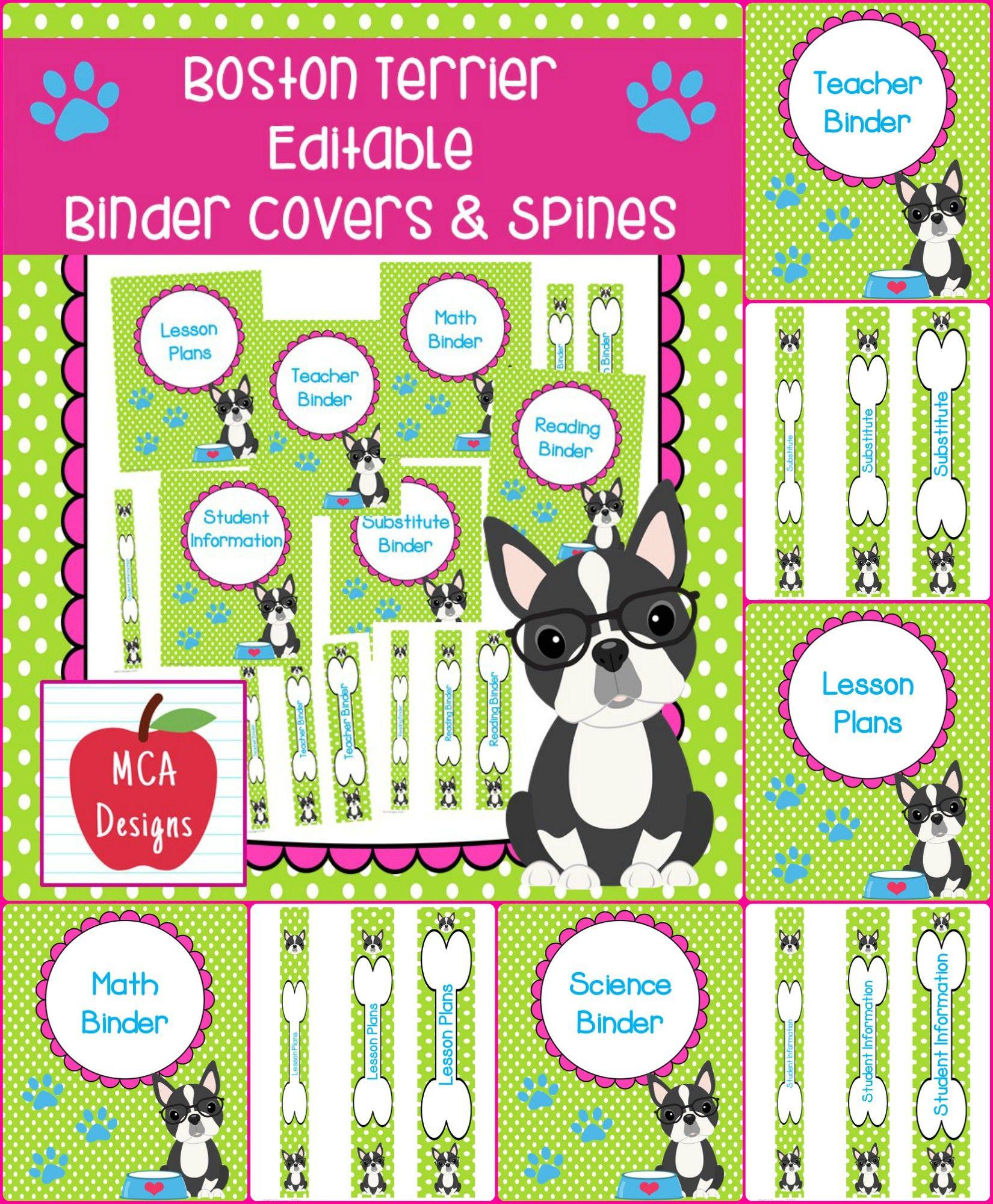 Boston Terrier - Editable Binder Covers & Spines