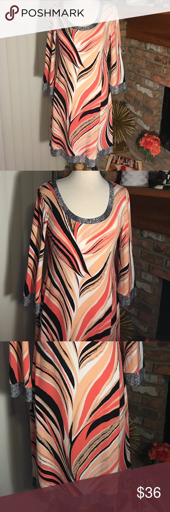 "Calvin Klein Multi Print Sheath Qtr-Sleeve Dress Nice multi swirl print dress. Round neckline. Bust approximately 38-40"" nice loose fit. Calvin Klein Dresses"