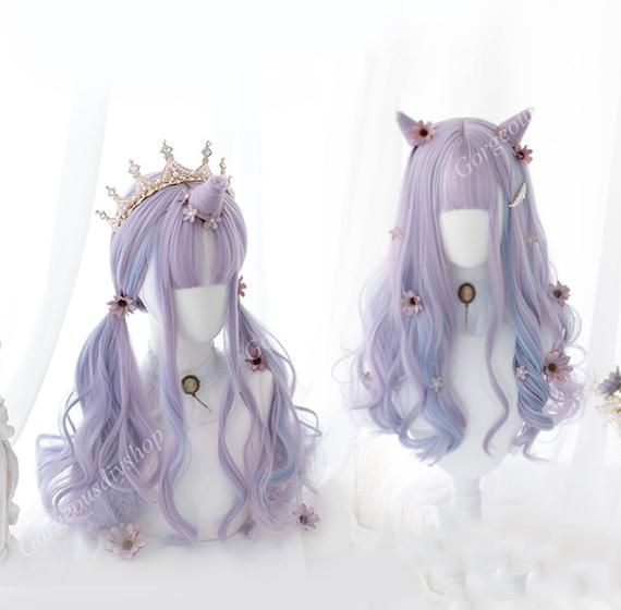 Blue and Purple Long Curly Wig , Wig with Bangs, C