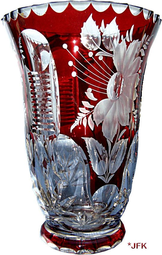 Cut Crystal Glass Vase Bohemian Free Blown Ruby Overlay Cut To Clear