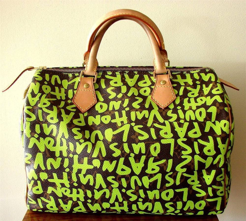 7dce477b2b00 Auth LOUIS VUITTON Speedy 30 Graffiti Bag by Stephen Sprouse Neon Green EUC   LouisVuitton  Speedy30