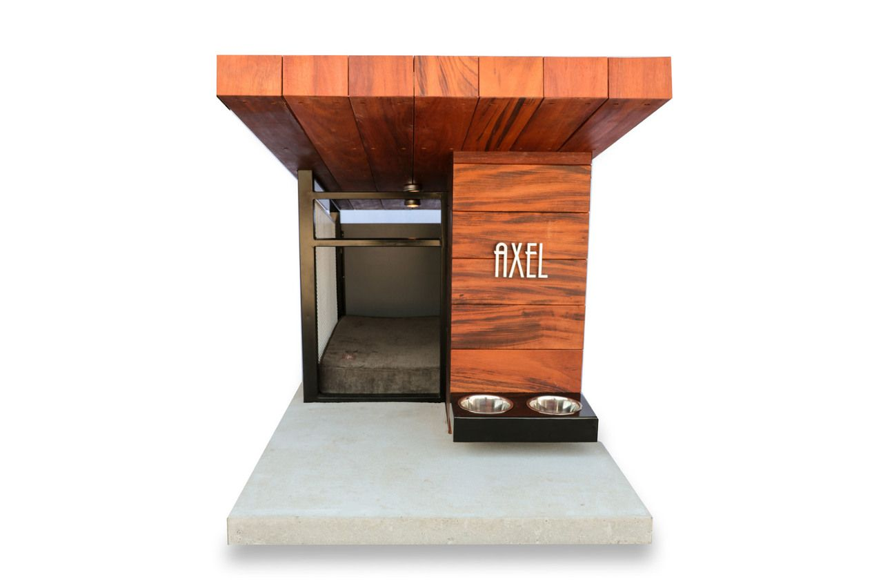 mdk dog haus from rahdesign  architecture and more  pinterest  - dog haus  modern dog house with name plaque and custom dog bedding