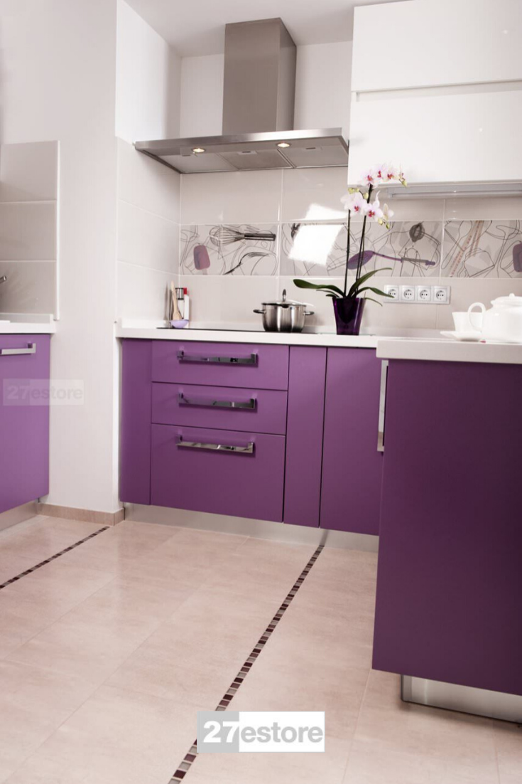 High Gloss Polyester Violet Purple In 2020 Purple Kitchen Cabinets Purple Kitchen Purple Cabinets