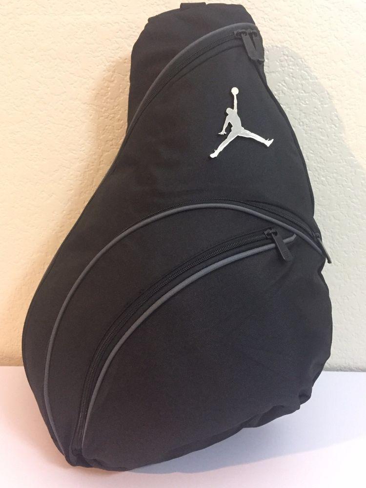 0f5a725dbf22 NIKE Jordan Jump man Sling Backpack Gym Black LT Graphite Silver Jump man  Logo.  Nike  Sling