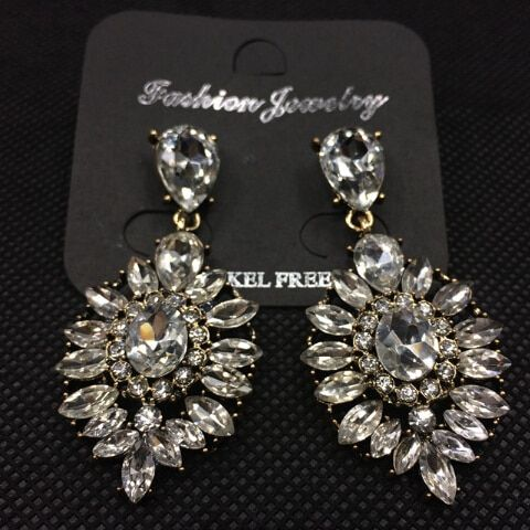 Photo of Shiny CZ Crystal Leaf Gem Dangle Drop Earrings Fashion Jewel…