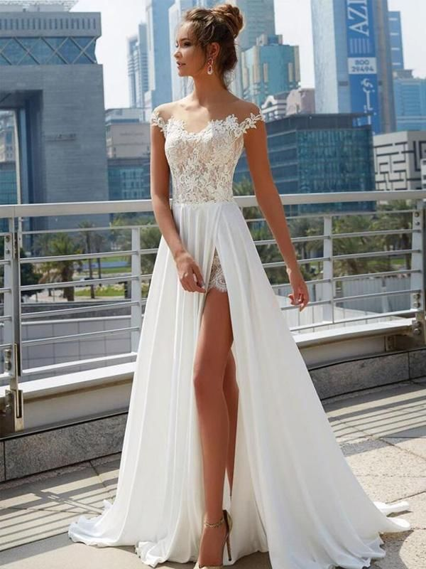 Off Shoulder See Through Cheap Wedding Dresses Online, Side Slit A-line Bridal Dresses, WD444