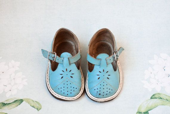 ceaca3fd51ce5 Blue Vintage Sandals / Soviet Era All - Leather Flat Perforated Kids ...