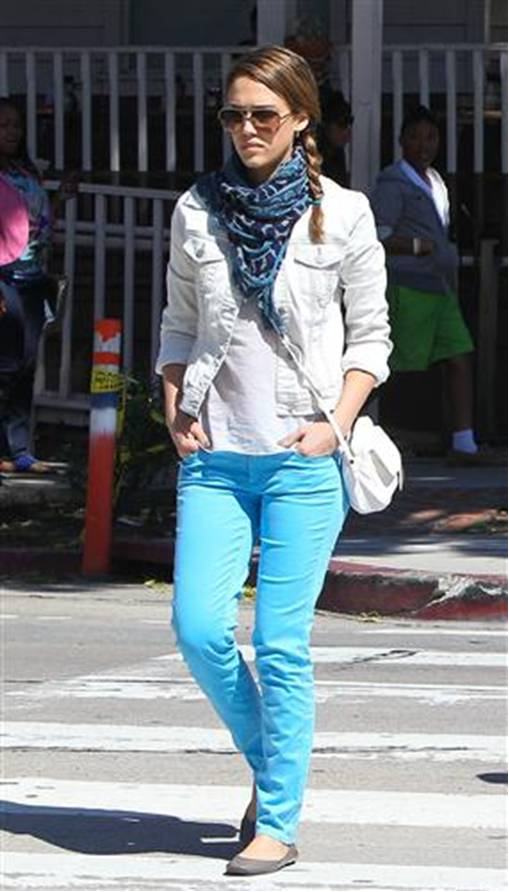f99580045a white denim jacket with colored jeans and casual hair and infinity scarf