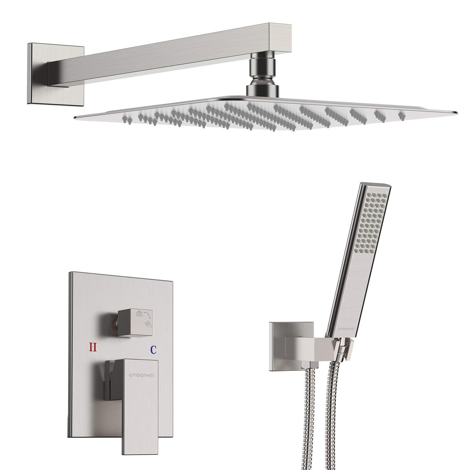 Embather Shower System Brushed Nickel Shower Faucet Set For