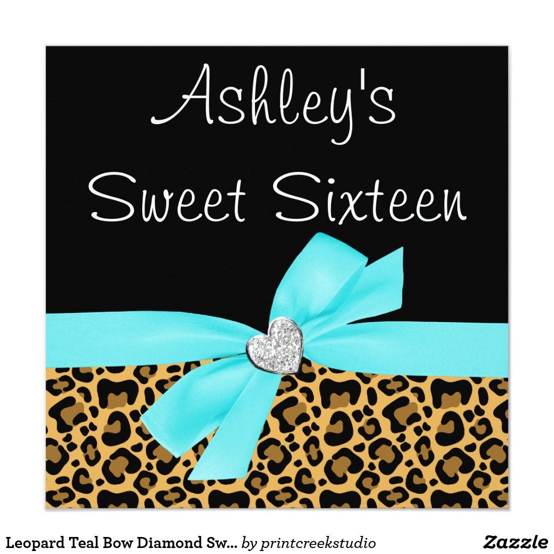 Leopard Teal Bow Diamond Sweet 16 Invitations Teal Blue Leopard ...