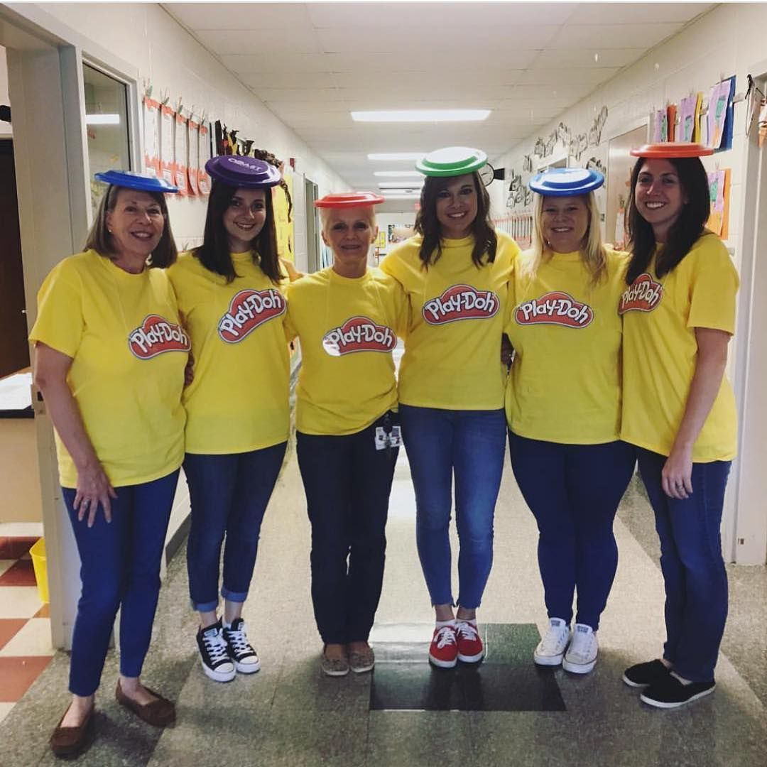 "K Teacher Tiff on Instagram: ""I can't wait to dress up with my team again this year! Last year's @playdoh Halloween costume was my favorite. Do you do a group costume…"" #grouphalloweencostumes"