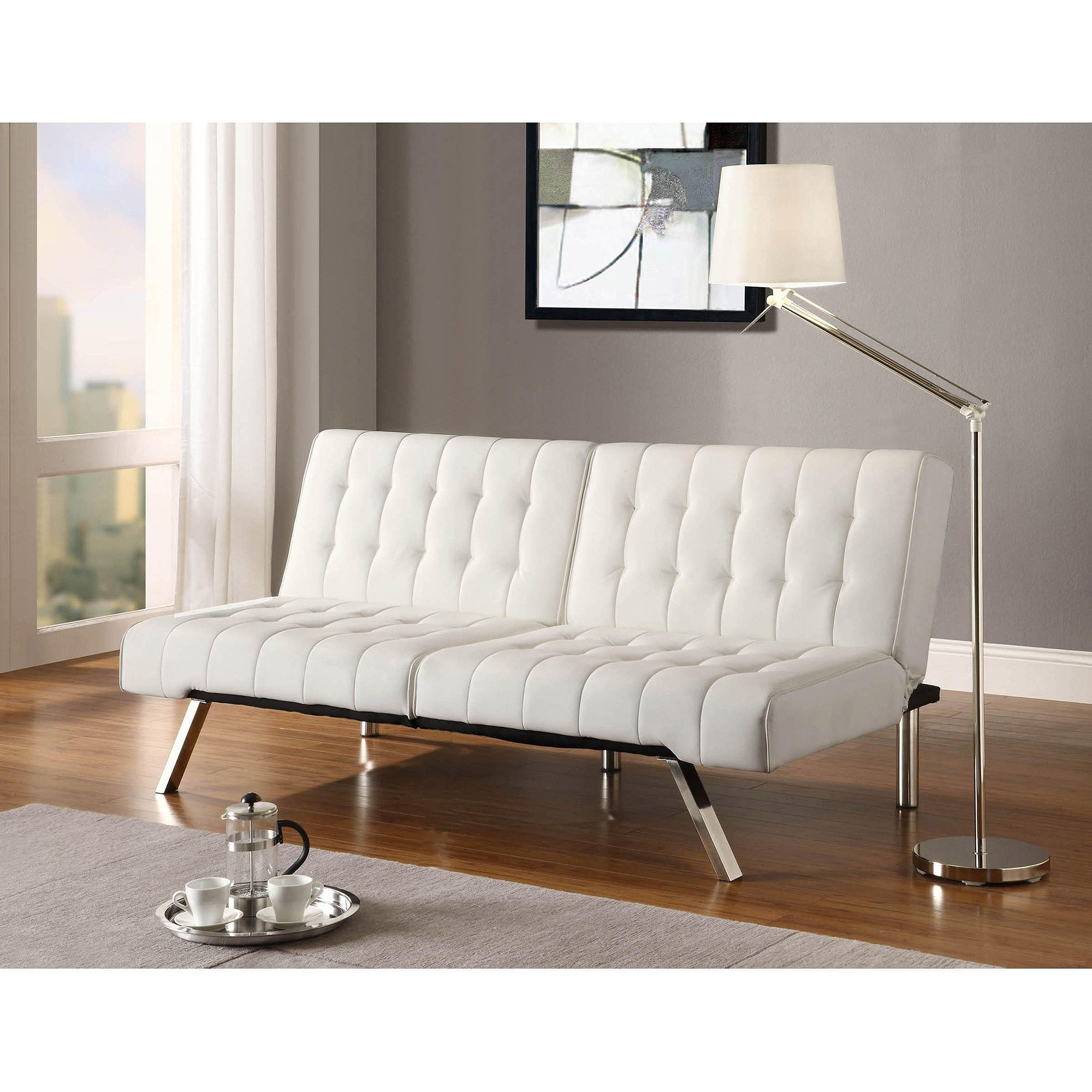 White Futon Couch Decorated With Light Pink Futon Living Room
