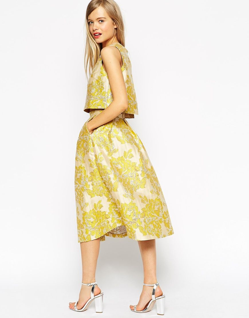 Fashion · ASOS Golden Jacquard Skirt with co-ord ...