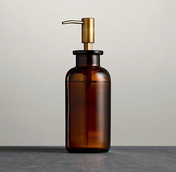 Pharmacy Soap Dispenser Amber Glass
