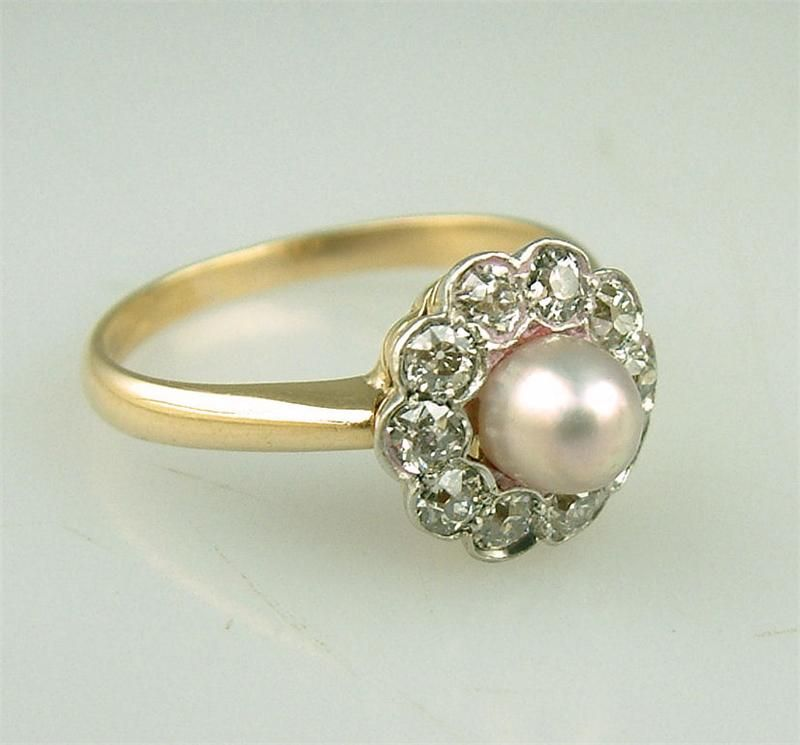 with antique pearls engagement diamond claddagh ring and