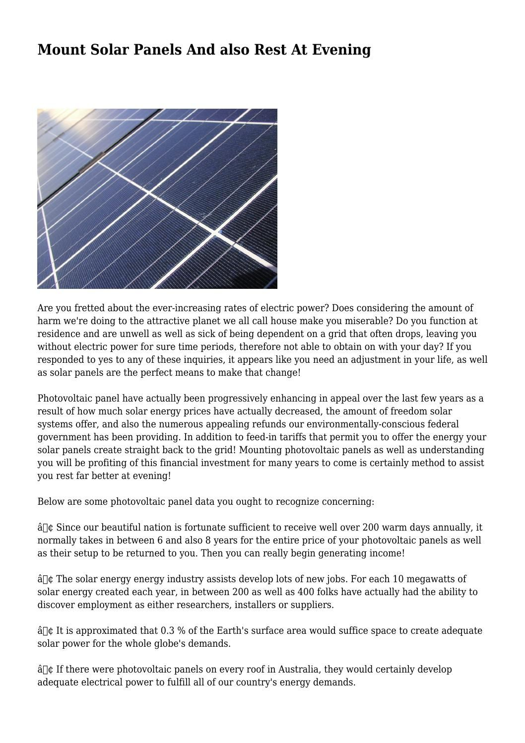 Mount Solar Panels And Also Rest At Evening Solar Panels Solar Solar Energy Cost